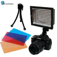 LimoStudio 160 LED Photography Digital SLR Camera Video Light with Mini Tripod for Digital Video Camcorder for Canon, Nikon, Pentax, Panasonic, SONY, Samsung and Olympus Cameras, AGG925