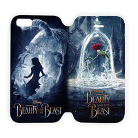 Beauty And The Beast Disney For iPhone 6 6s Print On PU Leather Flip Cover Case