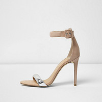 Nude silver strap barely there heeled sandals - sandals - shoes / boots - women