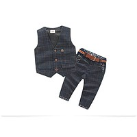 Baby Boy Clothes Sets Plaid Gentleman Suit Infant Toddler Boys Vest+Pants Children Kids Clothing Set Outfits