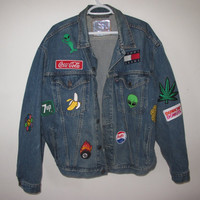 denim jacket with patches XL