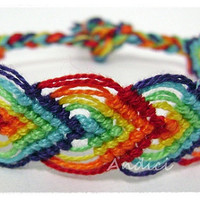 Over the Rainbow Colorful Knotted Macrame Woven Wristband - Friendship Bracelet - Support our Cause