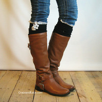 The Milly Lace - Black Cable-knit BOOT SOCKS with Ivory Lace Ruffle & buttons - lace socks (item no.5-2)
