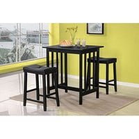 3-Piece Counter Height Table & Chairs Dining Set in Black