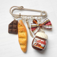 """Nutella """"hazelnut cream"""" and baguette bag charm pin brooch - handmade miniature polymer clay food jewelry"""