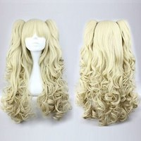 New Lolita Long Blonde Halloween Cosplay Party Curly Full Wig With Ponytails