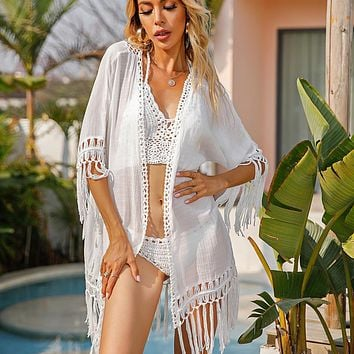 Bikini Cover Up Lace Hollow Swimsuit Beach Dress Women 2021 Summer Ladies Cover-Ups Bathing Suit Beach Wear Tunic