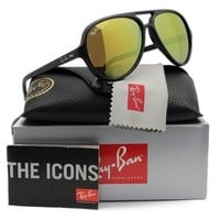100% AUTHENTIC Ray-Ban Aviator Sunglasses CATS 5000 RB 4125 601S/93 Mirror Gold