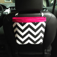 Car Headrest Caddy ~ Black Chevron ~ Hot Pink Band
