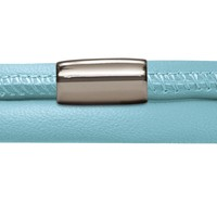 Light Blue Endless Leather Bracelet with Stainless Steel Magnetic Clasp (Single, Double or Triple Loop)