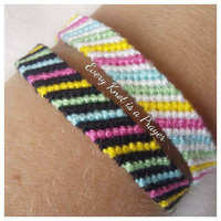 Set of two Colorful Macrame Knotted Friendship Bracelet Wristband