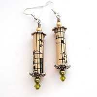 Olive Green Paper Bead  Earrings,  Music Jewelry, Recycled Antique Sheet Music, Swarovski Crystal