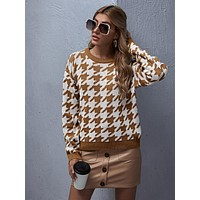 SHEIN Drop Shoulder Houndstooth Sweater