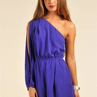 Mar One Shoulder Romper - Blue at Necessary Clothing