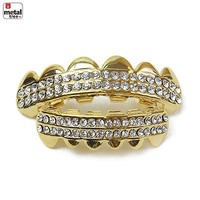 Jewelry Kay style Men's 14K Gold Plated TOP & Bottom Iced Out CZ Mouth Caps Teeth Grillz LS019 G