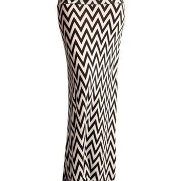 Chevron Maxi Skirt -- Black & White