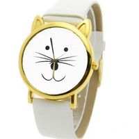B2 – WHITE CAT FACE -ADJUSTABLE WATCH