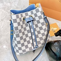 LV Louis Vuitton Classic Women Shopping Leather Stylish Plaid Bucket Bag Crossbody Shoulder Bag Satchel
