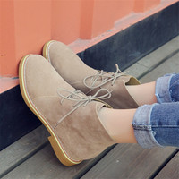 Fashion Lace-Up Women Ankle Boots Brand Height Increasing Shoes Woman Black Red Brown Non-slip Rubber Autumn Boots High Heel
