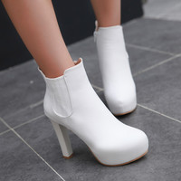 Ankle Boots for Women Platform High Heels Round Toe Zipper Autumn Winter Shoes Woman 6246