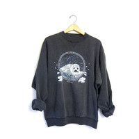 SEA OTTER Sweatshirt Grunge Slouchy Faded Black 80s Shirt Peace Animal Jumper Slouch Graphic 1980s Vintage Hipster Large XL