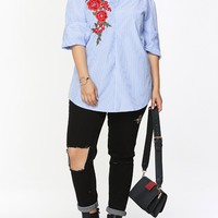 Casual Embroidery Vertical Striped Designed Plus Size Blouse