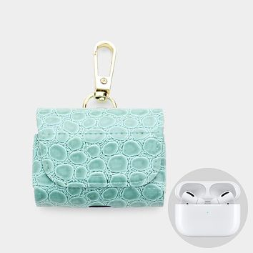 Alligator Skin Pattern Faux Leather Airpods Pro Case / Key Chain