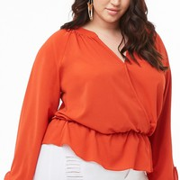 Plus Size Crepe Peasant Top