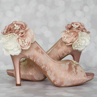 Wedding Shoes -- Antique Pink Wedding Shoes with Lace Overlay and Trio of Flowers on Ankle