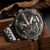 Oulm Exaggerated Large Big Watches Men Luxury Brand Unique Designer Quartz Watch Male Heavy Full Steel Leather Strap Wrist Watch