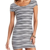 Wavy Pin-Tuck Bodycon Dress by Charlotte Russe - Black Combo
