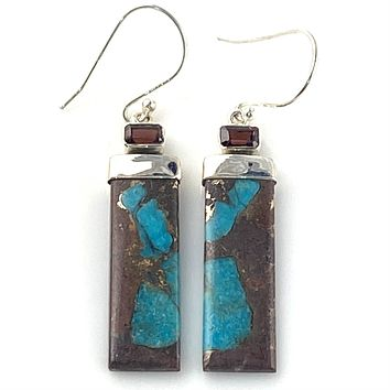 Garnet & Basalt Turquoise Sterling Silver Oblong Earrings