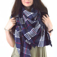 Large Plaid Blanket Scarf, Tartan Scarf, Fringed Scarf, Zara Inspired Fashion Scarf, Unisex