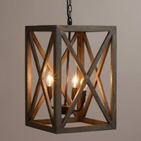 Gray Wood and Iron Valencia Chandelier