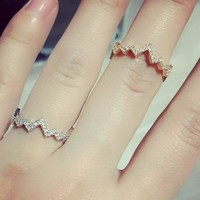 Fashion ECG Memory Heart Peng Peng  Love Sea Wave Ring [11400109396]