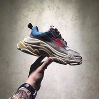 BALENCIAGA TRIPLE-S SNEAKER DAD SHOE YELLOW GRAY RED BLUE