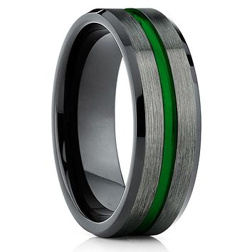 Green Tungsten Wedding Band - Gunmetal - Tungsten Wedding Band -Men's