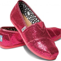 TOMS Shoes Glitter Hot Pink Classic Slip-On Shoes Youth Kids,