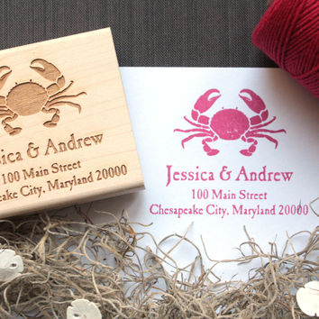 Maryland Crab Return Address Stamp - Maryland Blue Crab Gifts