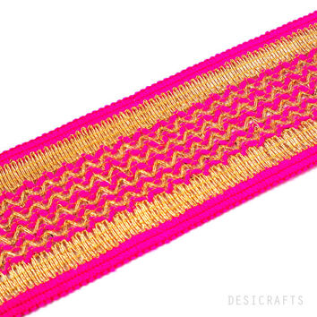 Hot Pink and Gold Gota Patti - Sari Border - Gota Ribbon for Wedding Lehenga Dresses - Raw Silk Border