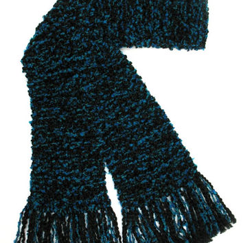 Black Teal Scarf Long Chunky Knit Thick Hand Knitted Scarf Men Women