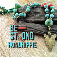 Native american turquoise arrowhead necklace, boho hippie jewelry