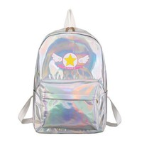 Laser Backpacks Cosplay Anime Card Captor Sakura Women Backpack Lolita Kawaii Holographic Travel Bag for Teenager Girl Schoolbag