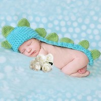Kalevel Cute Cartoon Dinosaur Style Infant Newborn Baby Girl Boy Crochet Beanie Hat Clothes Baby Photograph Props
