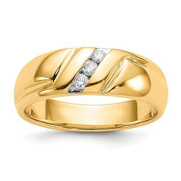 14K Yellow Gold Real Diamond 3-stone Mens Ring