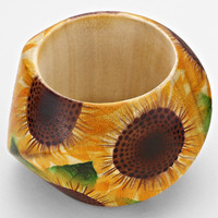 Sunflower Print Wooden Bangle Bracelet