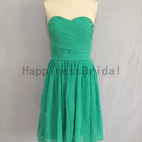 Short green sweetheart chiffon prom dress with pleat,prom dresses,bridesmaid dress,chiffon prom dress,short evening dress 2014,formal dress
