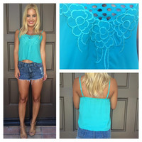 Vision Of Love Eyelet Embroidered Tank - TEAL