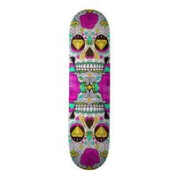 Girly Sugar Skull and Pink Floral Roses Skateboard from Zazzle.com