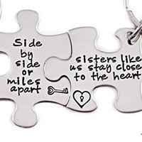 Side By Side Or Miles Apart, Sisters Like Us Stay Close To The Heart Keychain Set of 2 - Hand Stamped Key Chain